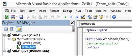 Tento zošit modulu v jazyku Visual Basic Editor (VBE)