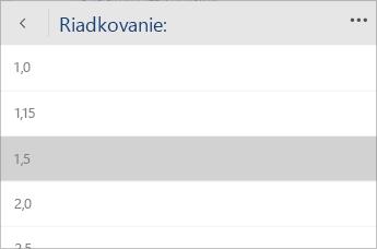 Snímka obrazovky sponukou Wordu Mobile na výber hodnoty riadkovania.