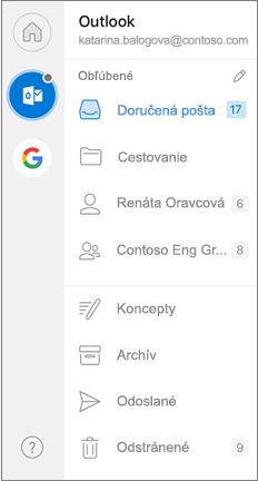 Navigačná tabla Outlooku s obľúbenými položkami v hornej časti