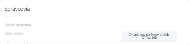 Snímka obrazovky so zobrazením konta overeného správcu, ktoré sa v Office 365 synchronizuje ako konto globálneho správcu