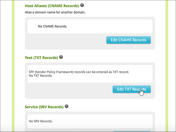 Kliknite na položku Edit TXT Records