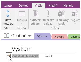 Snímka obrazovky s postupom zmeny dátumovej pečiatky strany vo OneNote 2016.