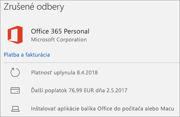 Zobrazenie uplynutého predplatného na Office 365