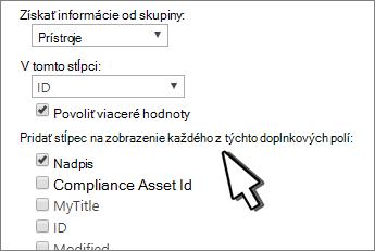 Pridanie viacerých hodnôt a ďalších stĺpcov do vyhľadávacieho stĺpca