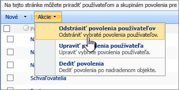 Odstrániť povolenia používateľov vponuke Akcia