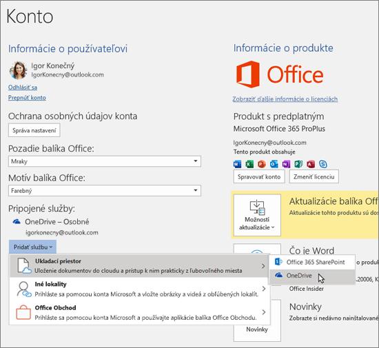 Tabla Konto vaplikáciách balíka Office so zvýrazneným výberom úložiska vo OneDrive smožnosťou Pridať službu včasti Pripojené služby.