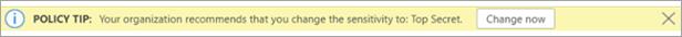 Snímka obrazovky s tipom politiky pre odporučené označenie citlivosti