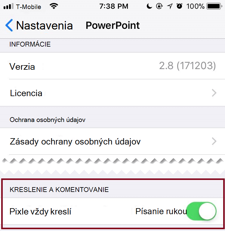 V časti Nastavenia aplikácie môžete môžete prepínať automatické písanie rukou, vypnutie alebo zapnutie.