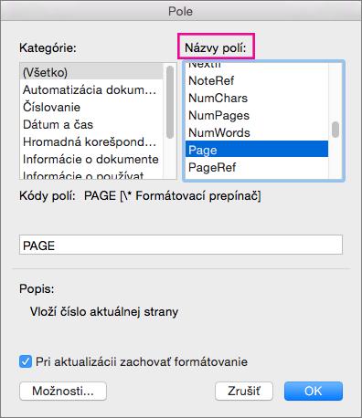 Výber strany v časti názvov polí