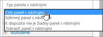 Výber typu panela s nástrojmi