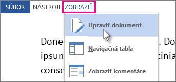 Obrázok časti ponuky Zobraziť v režime čítania s vybratou možnosťou Upraviť dokument.