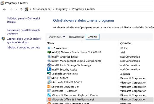 Kliknite na položku Zmeniť v aplete Odinštalovať programy a spustite opravu balíka Microsoft Office