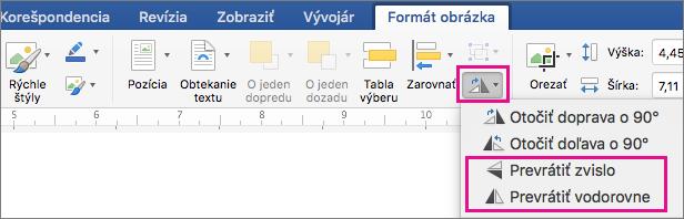 Na karte Formát obrázka je zvýraznená položka otočiť objekty