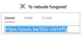 Ak sa vkladací kód začína reťazcom http, vloženie videa nebude úspešné.