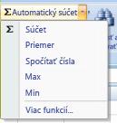 Použitie príkazu Automatický súčet na spočítanie čísel