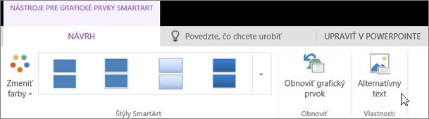 Snímka obrazovky s kartou Návrh v časti s nástrojmi pre grafické prvky SmartArt. Kurzor ukazuje na možnosť Alternatívny text.