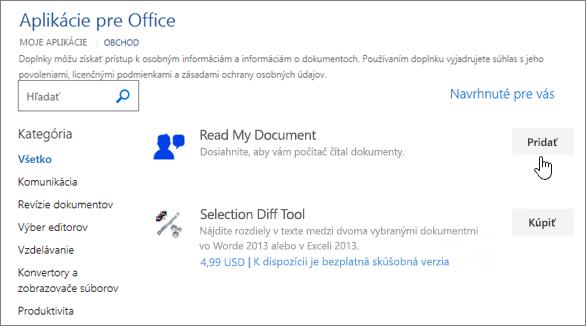 Snímka obrazovky so zoznamom aplikácií pre Office obchodu, kde si môžete vybrať alebo vyhľadať aplikácie pre Word.