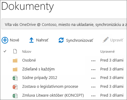 Dokumenty vo OneDrive for business