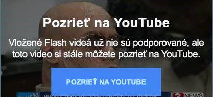 Toto chybové hlásenie zlokality YouTube vysvetľuje, že už nepodporuje vložené Flash videá