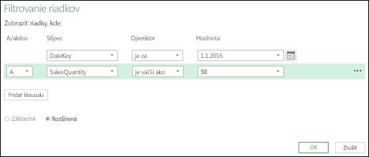 Power BI v Exceli – dialógové okno Rozšírené filtrovanie riadkov v editore dotazov