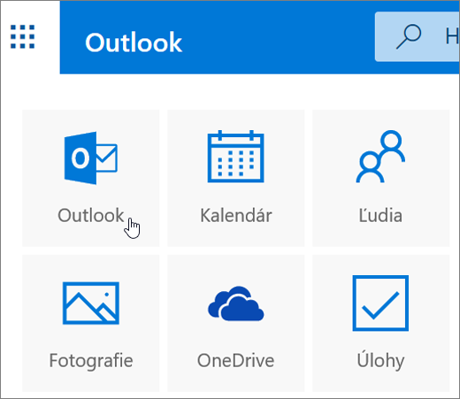 Snímka obrazovky zobrazuje vybratú dlaždicu Outlook.