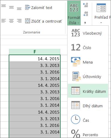 zmena údajov na formát krátkeho dátumu zpása snástrojmi