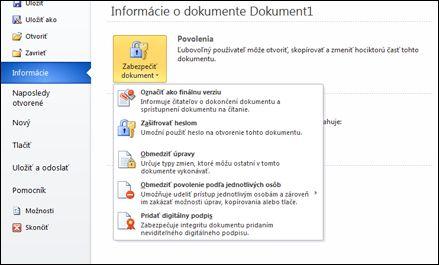 Tlačidlo Zabezpečiť dokument s možnosťami
