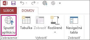 Tlačidlo Spustiť aplikáciu na karte Domov.
