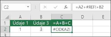 Chyba #REF! spôsobená odstránením stĺpca.  Vzorec sa zmenil na =A2+#REF!+B2