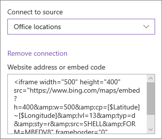 Príklad vloženia kódu na zobrazenie umiestnení
