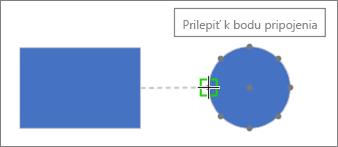 Cieľový tvar zobrazuje popis: Prilepiť kbodu pripojenia