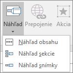 Zobrazuje rôzne typy náhľadov, ktoré sú kdispozícii na výber po prechode na položky Vložiť > Náhľad: Náhľad obsahu, Náhľad snímky aNáhľad sekcie.