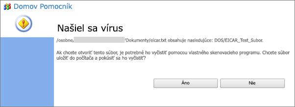 Upozornenie na vírus