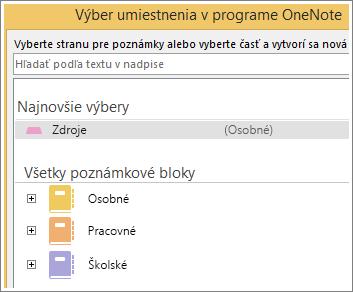 Snímka obrazovky s oknom OneNotu, kde si môžete vybrať stranu na zapisovanie poznámok cez Skype.