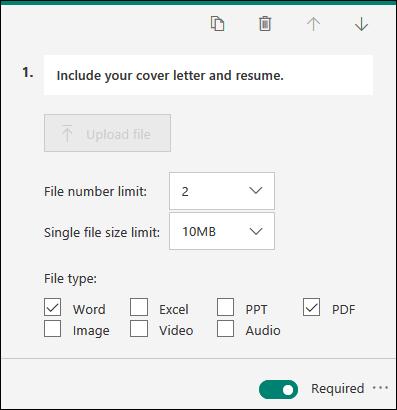 Otázka, ktorá umožňuje načítanie súborov s možnosťami obmedzenia počtu súborov a jednotnými obmedzeniami veľkosti súborov v službe Microsoft Forms