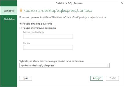 Prihlasovacie poverenia na pripojenie k serveru Power Query SQL Server