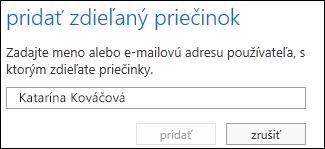 Dialógové okno Pridať zdieľaný priečinok vaplikácii Outlook Web App