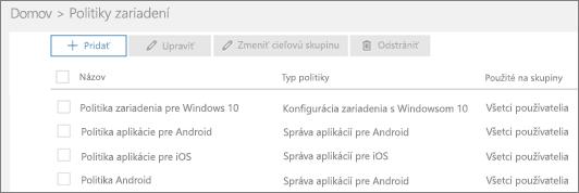 Snímka obrazovky so stránkou Politiky