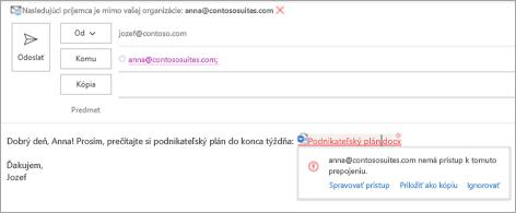 Zobrazia sa čitateľné názvy prepojení na priložené dokumenty