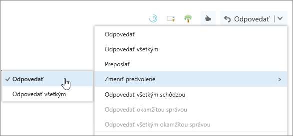 Snímka obrazovky stlačidlom Zmeniť predvolené.