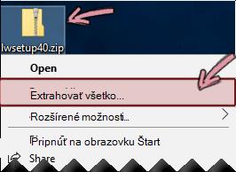 Kliknite pravým tlačidlom myši na skomprimovaný súbor zip aextrahujte súbor.