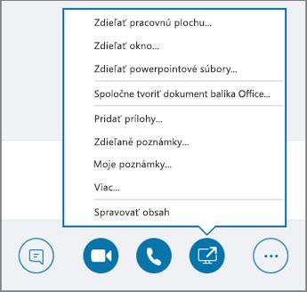 Snímka obrazovky sotvorenou ponukou Zdieľanie obsahu.