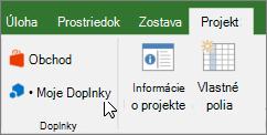 Snímka obrazovky s časťou karte projekt na páse s nástrojmi programu Excel moje doplnky rozbaľovací zoznam. Vyberte položku moje doplnky na výber naposledy použité doplnok, spravovať všetky doplnky alebo prejdite do Office obchodu pre nové doplnky.