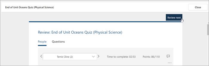 Vyberte položku revízia vedľa položky Presunutie a kontrola kvízu študenta.