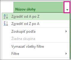 Obrázok ponuky Názov úlohy s vybratou položkou Zoradiť od A po Z