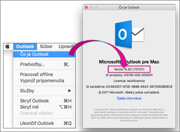 Ak chcete zistiť svoju verziu, vyberte položky Outlook > O programe Outlook