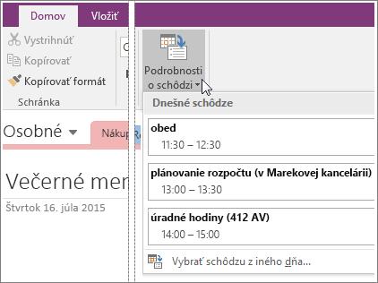 Snímka obrazovky s tlačidlom Podrobnosti o schôdzi vo OneNote 2016.
