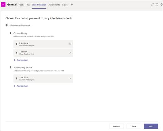 Skopírujte sekcie do poznámkového bloku pre učebné predmety.