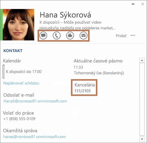 Karta kontaktu Skypu for Business