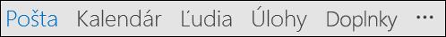 Navigačný panel, sa môžu zobraziť slová alebo ikony.